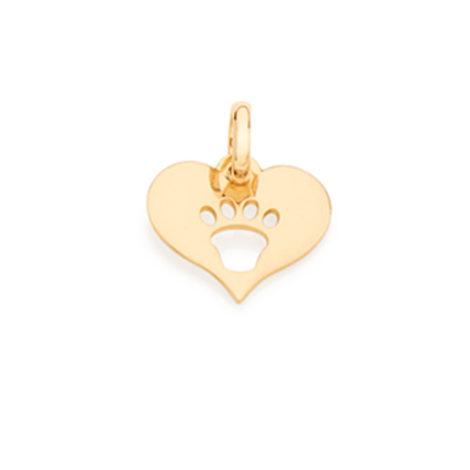 542074 pingente liso no formato coracao com desenho pata de cachorro ao centro vazado joia folheada marca rommanel loja brilho folheados