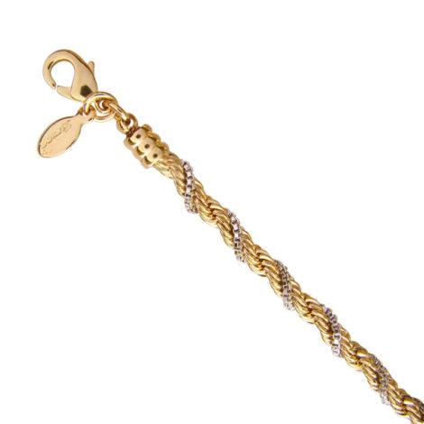 CE0136 20 pulseira feminina trancada 2 tons de ouro bruna semijoias loja brilho folheados