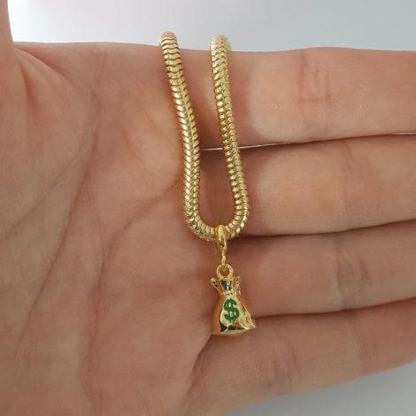 MB1177 berloque pingente saco de dinheiro joia folheada ouro marca bruna semijoias loja brilho folheados 1