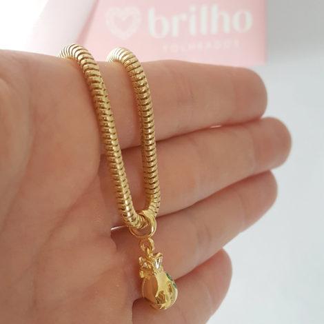 MB1177 berloque pingente saco de dinheiro joia folheada ouro marca bruna semijoias loja brilho folheados