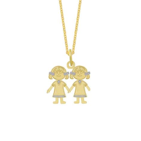 Colar pingente chapeado 2 filhas folheado ouro