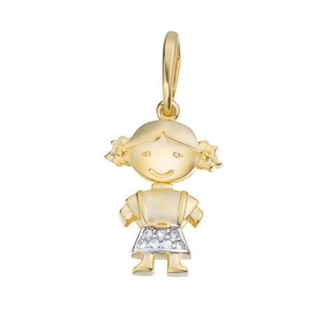 1800017 pingente menina corpo solto com 7 zirconias cravejadas folheado ouro 18k marca sabrina joias loja brilho folheados