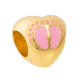 1800299 berloque coracao pes de crianca rosa joia folheada ouro marca sabrina joias loja brilho folheados