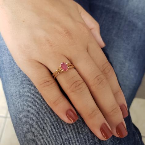 1910813 anel 2 em 1 cristal rosa e cravejado joia folheada a ouro brilho folheados sabrina joias foto modelo 1