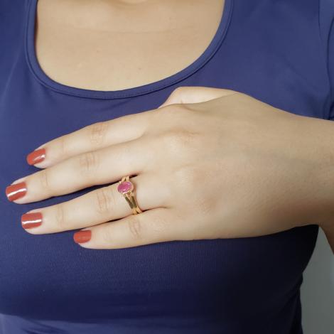 1910813 anel 2 em 1 cristal rosa e cravejado joia folheada a ouro brilho folheados sabrina joias foto modelo 2