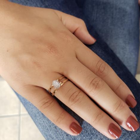 1910813 anel 2 em 1 cristal rosa e cravejado joia folheada a ouro brilho folheados sabrina joias foto modelo