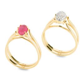 Anel de formatura cristal rosa 2 em 1 folheado ouro