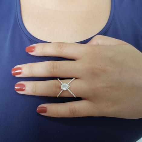 1910939 anel x com zirconia gota cravejado joia folheada a ouro brilho folheados sabrina joias foto modelo 1