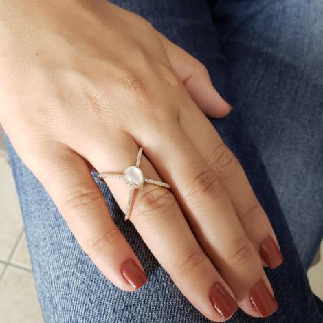 1910939 anel x com zirconia gota cravejado joia folheada a ouro brilho folheados sabrina joias foto modelo