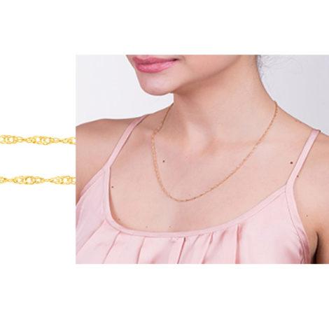 530591 orrente formada por fio cingapura espessura media 50cm comprimento folheada ouro marca rommanel loja brilho folheados corrente na modelo