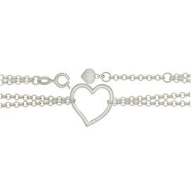 Tornozeleira coração joia em prata 27 cm