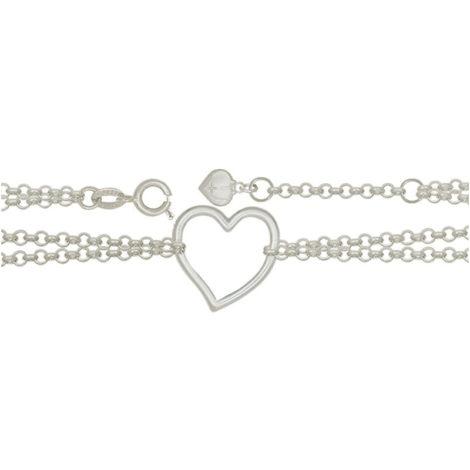 Tornozeleira corrente dupla pingente coracao vazado joia em prata marca sabrina joias loja brilho foljeados