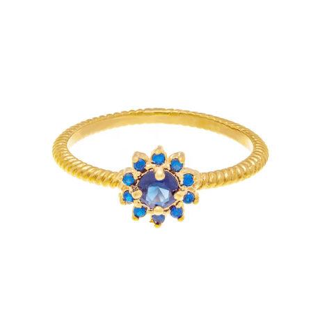 512716 anel flor com zircônias azul folheado a ouro joia rommanel colecao gratidao loja brilho folheados 1