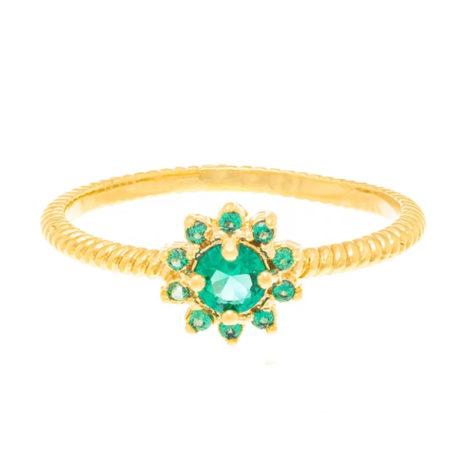 512716 anel flor com zircônias verdes folheado a ouro joia rommanel colecao gratidao loja brilho folheados 1
