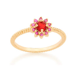 Anel flor zircônia vermelha e rosa Rommanel