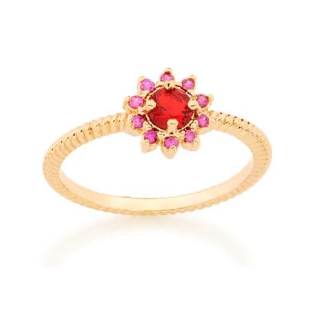 512716 anel flor com zircônias vermelha e rosa folheado a ouro joia rommanel colecao gratidao loja brilho folheados