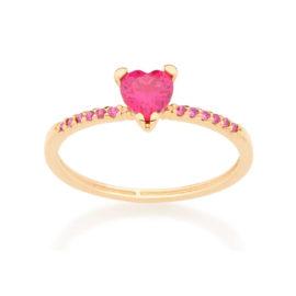 512728 anel skinny ring folheado a ouro com zircônia de coração joia rommanel colecao gratidao loja brilho folheados