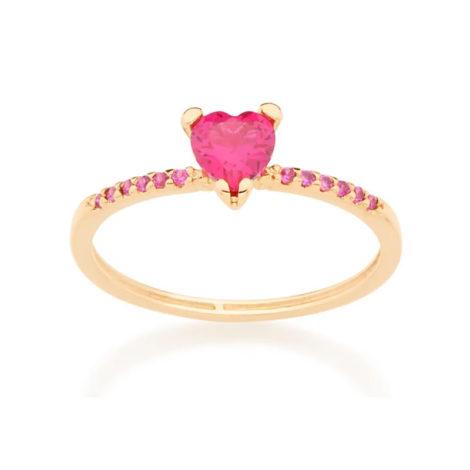 Anel delicado coração solitário zircônia rosa Rommanel