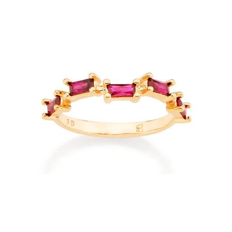 512729 anel folheado a ouro com zircônias retangulares joia rommanel colecao gratidao loja brilho folheados