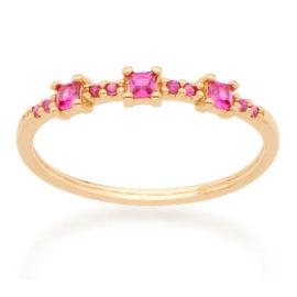 512743 anel com zirconias quadradas rosa folheado a ouro joia rommanel colecao gratidao loja brilho folheados