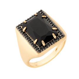 Maxi anel cristal preto e zircônia preta Rommanel