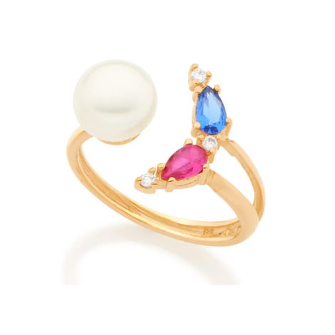 512758 anel ajustável folheado a ouro com pérola e zircônias joia rommanel colecao gratidao loja brilho folheados
