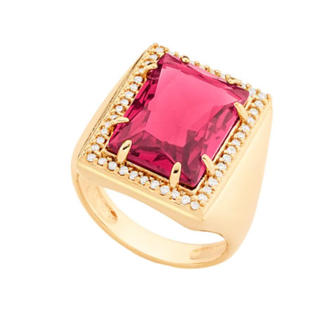 Maxi anel cristal vermelho e zircônia branca Rommanel