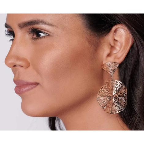 526260 brinco redondo arabesco folheado a ouro joia rommanel colecao gratidao loja brilho folheados foto modelo