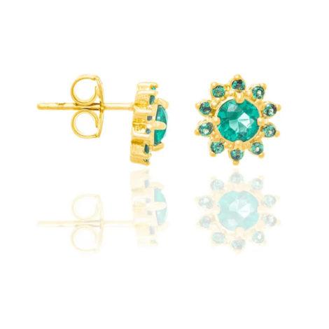 526266 brinco flor com zircônias verdes folheado a ouro joia rommanel colecao gratidao loja brilho folheados 1