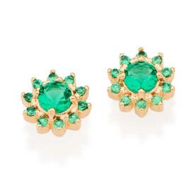 526266 brinco flor com zircônias verdes folheado a ouro joia rommanel colecao gratidao loja brilho folheados