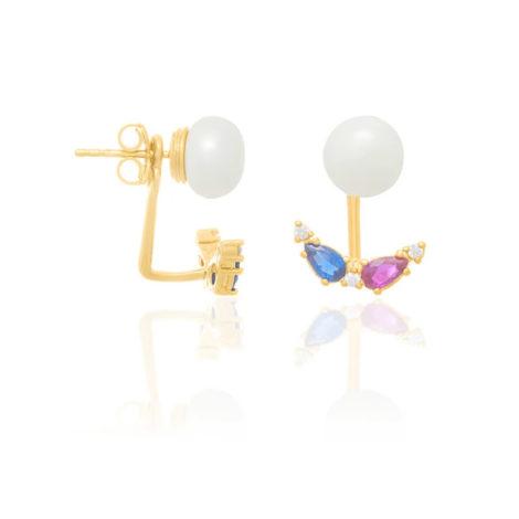 526324 brinco ear jacket folheado a ouro com zircônias e pérolas sintéticas joia rommanel colecao gratidao loja brilho folheados 1