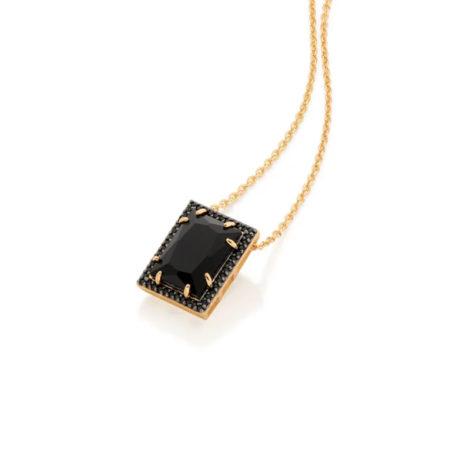 531984 531984 gargantilha com pendant preto folheada a ouro tamanho 50 joia rommanel colecao gratidao loja brilho folheados