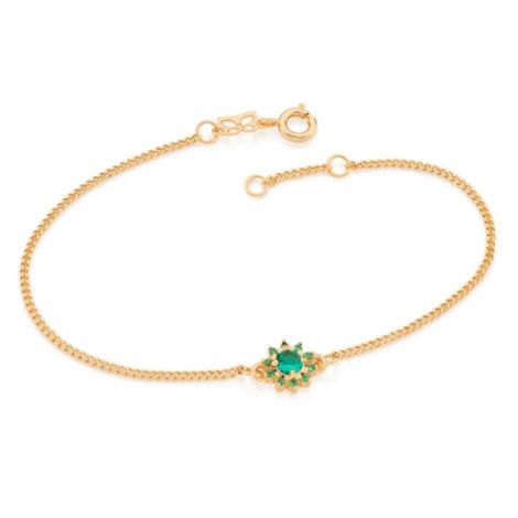 551608 pulseira feminina flor zirconias verdes joia rommanel colecao gratidao loja brilho folheados 1