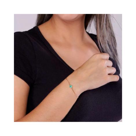 551608 pulseira feminina flor zirconias verdes joia rommanel colecao gratidao loja brilho folheados foto modelo