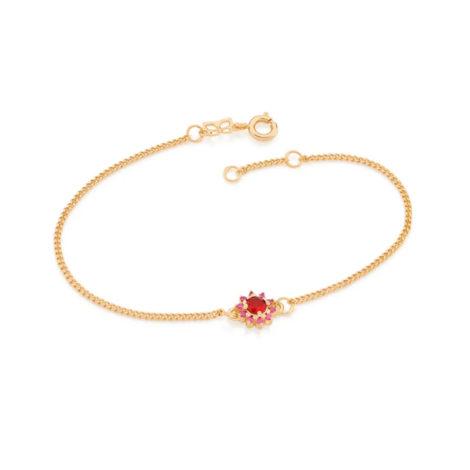 551608 pulseira feminina flor zirconias vermelha e rosa joia rommanel colecao gratidao loja brilho folheados