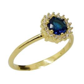 Anel mini cristal azul com zircônias