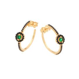 526295 Brinco meia argola cravejado zirconia preta com detalhe zirconia redonda verde ao centro marca rommanel loja brilho folheados