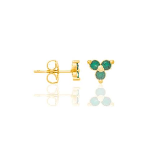 526298 brinco folheado a ouro triângulo com zircônias verde joia rommanel colecao gratidao loja brilho folheados 1