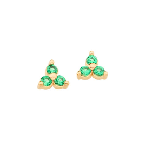 526298 brinco folheado a ouro triângulo com zircônias verde joia rommanel colecao gratidao loja brilho folheados