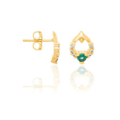 526316 brinco formato gota zirconia verde e branca joia rommanel colecao gratidao loja brilho folheados 1