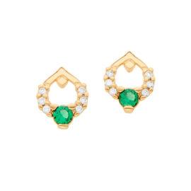 526316 brinco formato gota zirconia verde e branca joia rommanel colecao gratidao loja brilho folheados