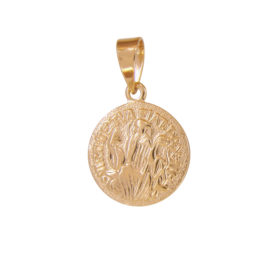 MB0077 pingente medalha sao bento com cruz no verso joia folheada ouro 18k marca bruna semijoias loja brilho folheados