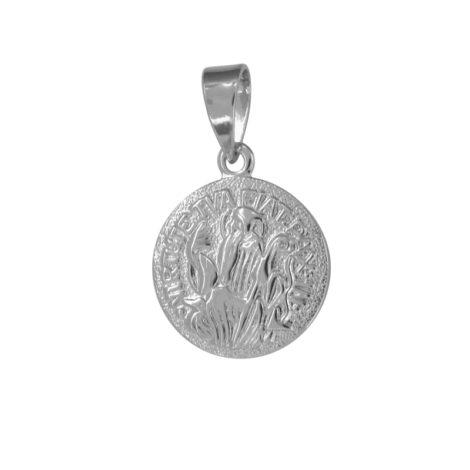 MB0077 pingente medalha sao bento com cruz no verso joia folheada ouro branco marca bruna semijoias loja brilho folheados