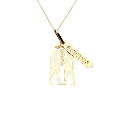 colar profissao estetica brilho folheados joia folheada a ouro
