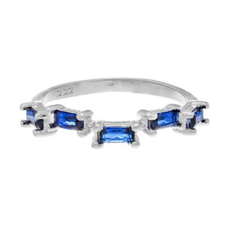 110811 anel prateado com zircônias retangulares azuis joia rommanel colecao gratidao loja brilho folheados 1