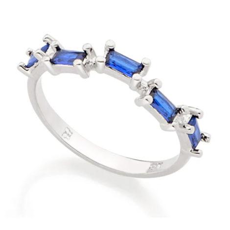 110811 anel prateado com zircônias retangulares azuis joia rommanel colecao gratidao loja brilho folheados
