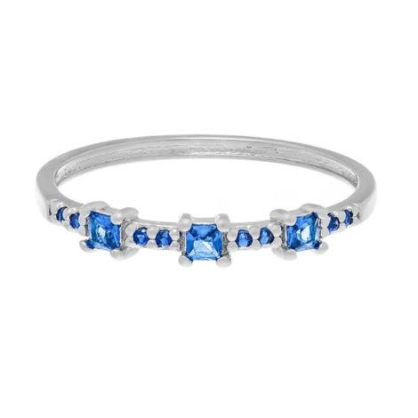 110820 anel fino prateado com zircônias azuis quadradas joia folheada a ouro joia rommanel colecao gratidao loja brilho folheados 1
