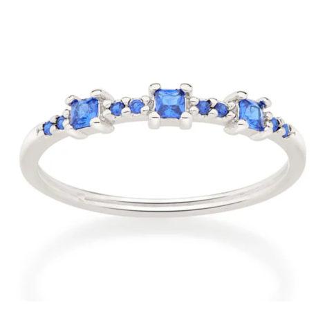 110820 anel fino prateado com zircônias azuis quadradas joia folheada a ouro joia rommanel colecao gratidao loja brilho folheados