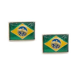 120636 brinco formato bandeira do brasil com aplicacao de resina nas cores da bandeira folheado a rodio marca rommanel loja brilho folheados