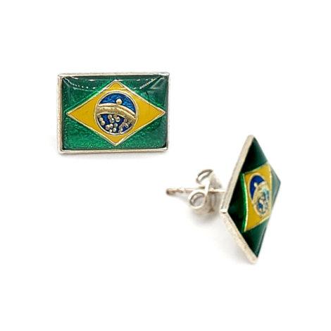 120636 brinco formato bandeira do brasil com aplicacao de resina nas cores da bandeira metal prateado marca rommanel loja brilho folheados